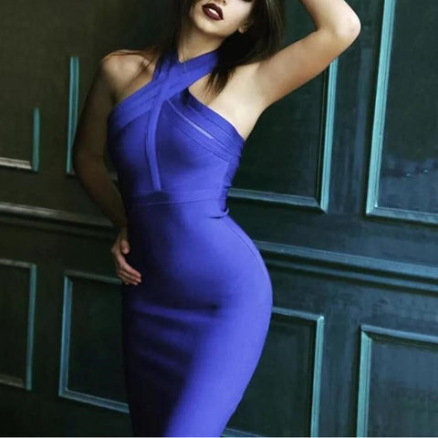 Blue Halter Top Bandage Dress