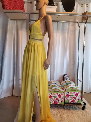 Deep-V Sexy Chiffon Long Dress with Cross Back