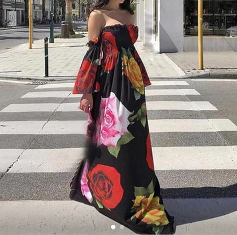 Floral Printed Strapless Long Summer Maxi Dress