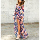 Flower Print Long Sleeve Sexy Chiffon Maxi Dress