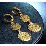 Gold Plated Coin Dangling Earrings