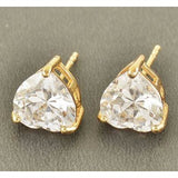 Gold Filled Crystal Heart Stud Earrings