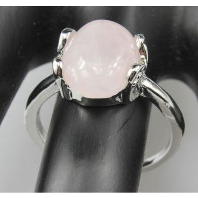 Powder Crystal Rose Quartz Silver Plated Ring