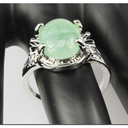Green Aventurine Gemstone Silver Plated Ring