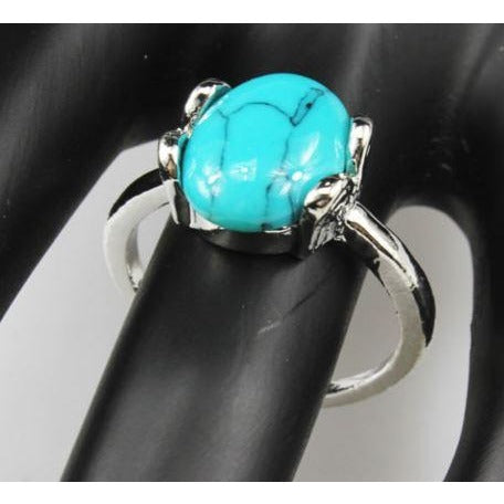 Turquoise Gemstone 925 Silver Plated Ring