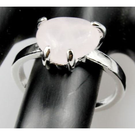 Powder Rose Quartz Crystal 925 Silver Plated  Ring