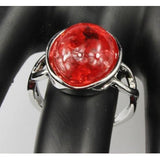 Amber Gemstone 925 Silver Plated Ring
