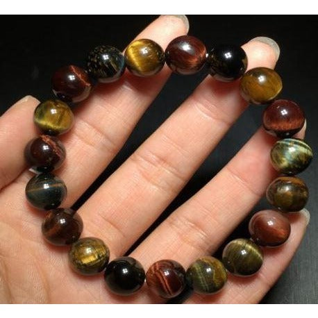 10mm Natural Colorful Tiger's Eye Gemstone Beads Bracelet AAA