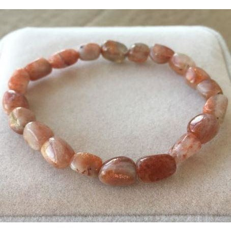 Natural Gold Strawberry Quartz Crystal Clear Beads Bracelet
