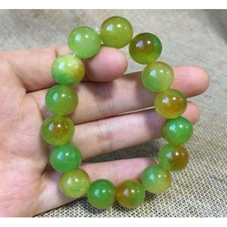 NATURE YELLOW GREEN JADE BRACELET GREEN HAND CATENARY