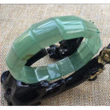 Natural Green Jade bangle bracelets hand-made crystal stones