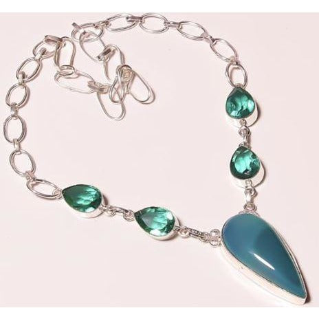 Natural Botswana Agate Apatite Quartz Silver Plated Necklace