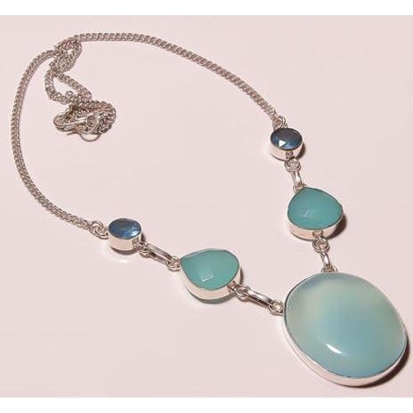 "Chalcedony London Topaz Silver Plated Overlay Handmade Necklace 17-18""."