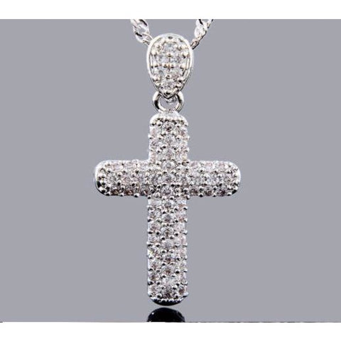 Melina 18K White Gold Gp Pendant Round White Topaz Cross