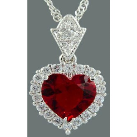 "Ocean Love Heart Pendant 18K White Gold GP CZ Zirconia Red Ruby 18"" With Necklace"