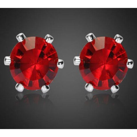 Melina Jewelry Lady Round Cut Red Ruby Garnet White Gold Plated Stud Earrings