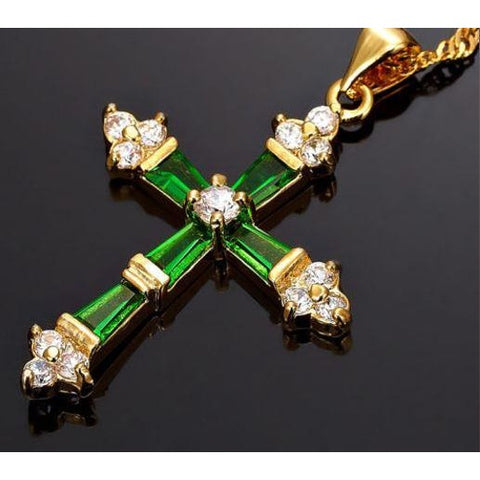 Cross Pendant In Emerald Or Red Ruby With Chain