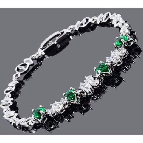 Melina Jewelry 18K White Gold Gp Cubic Zirconia Emerald Green Tennis Bracelet