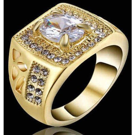 10K yellow Gold Filled Ring White Sapphire