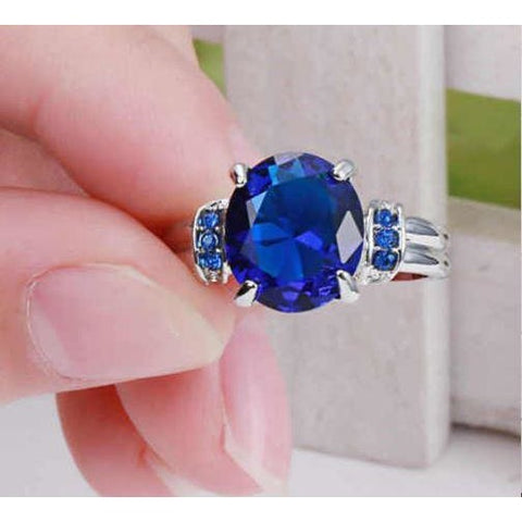 Blue Sapphire white 10kt Gold Filled Ring