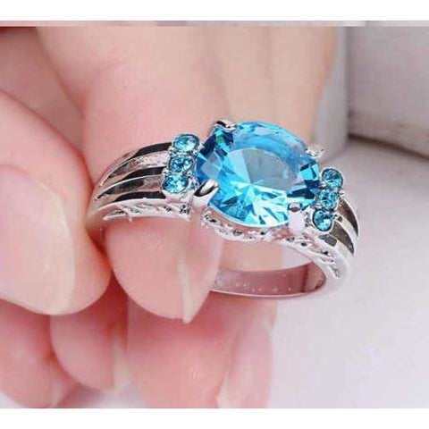 Sky-blue Aquamarine white10kt Gold Filled Ring