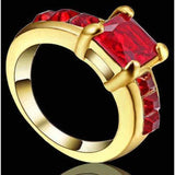Red Ruby 10K yellow Gold Filled Ring