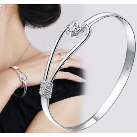 925 Sterling Silver Plated Flower Cuff Bangle Bracelet
