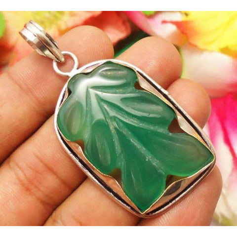 HANDMADE PENDANT JEWELRY GREEN ONYX GEMSTONE 925 SILVER PLATED