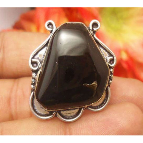 HANDMADE NATURAL BLACK ONYX GEMSTONE 925 SILVER PLATED RING