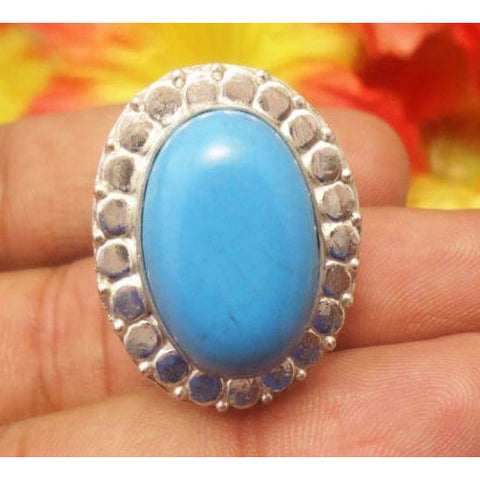 HANDMADE TURQUOISE GEMSTONE 925 SILVER PLATED RING