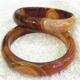 60mm Natural Brown Yellow Chalcedony Bangle With Certificate