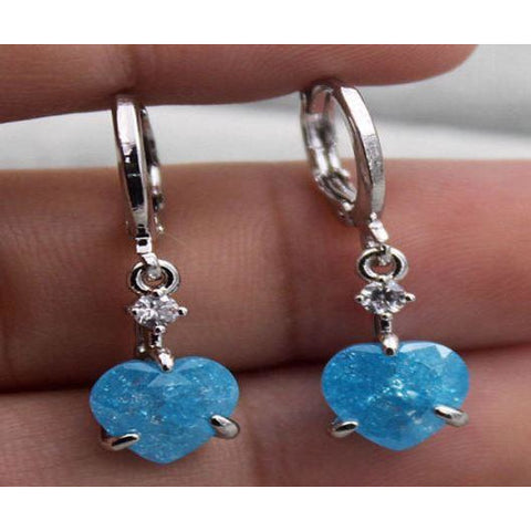 18K White Gold Filled Blue Cherry Stone Topaz Heart Hoop Earrings
