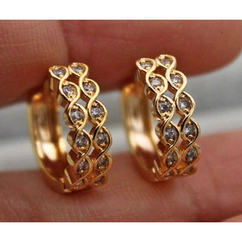 18K Yellow Gold Filled Topaz Zircon Hoop Earrings