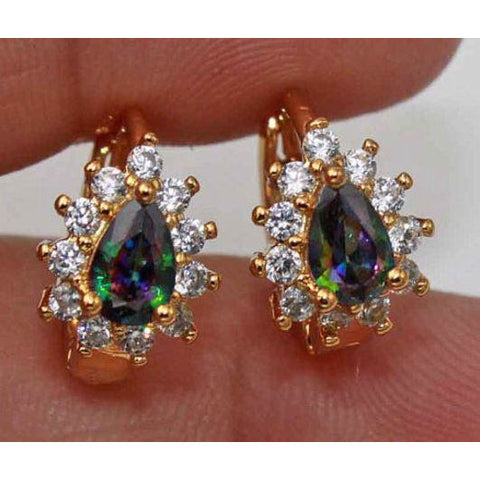 18K Yellow Gold Filled- Flower Teardrop Rainbow Mystic Topaz Hoop Earrings