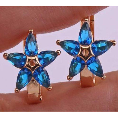 18K Yellow Gold Filled Navy Blue Sapphire Topaz Flower Hoop Star Earrings