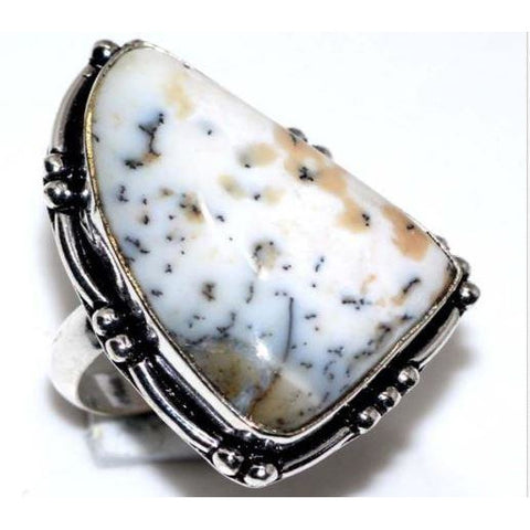 925 Sterling Silver Plated Dendritic Opal Gemstone Ring