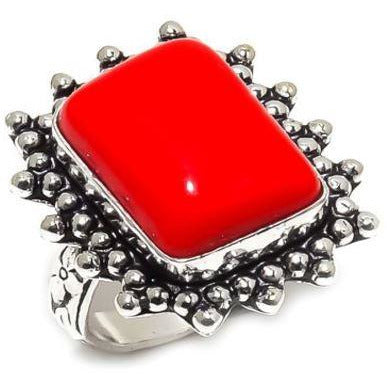 925 Sterling Silver Plated Red Coral Gemstone Ethnic Handmade Ring