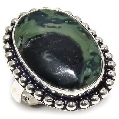 925 Sterling Silver Plated Star Galaxy Jasper Gemstone Ethnic Style Handmade Ring