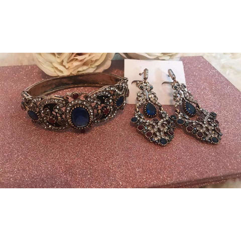Set Of Bohemian Ethnic Vintage Earrings And Bangles Cuff