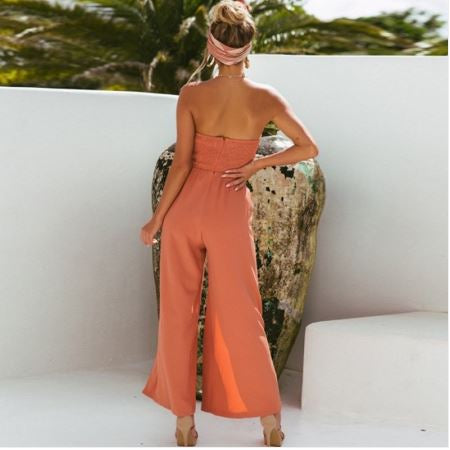 High Cut Strapless Sheer Jumpsuit