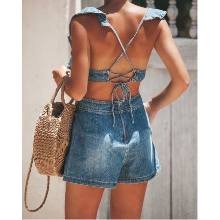 Cross Back Ruffle Denim Romper