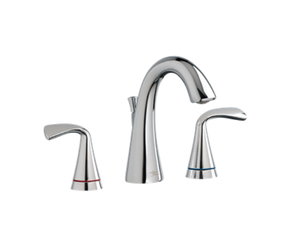 "American Standard bathroom faucet American Standard ""Fluent"" Fluent Two-Handle Widespread Bathroom Faucet with Red/Blue Indicators"