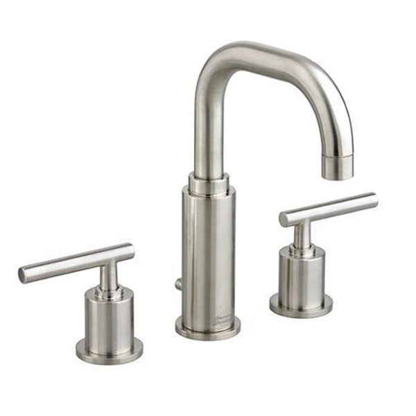 "American Standard bathroom sink faucet Brushed Nickel American Standard ""Serin"" Brushed Nickel 8 Inch Widespread Bathroom Sink Faucet"