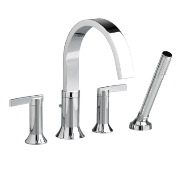 "American Standard bathtub faucet Polished Chrome American Standard ""Berwick"" Deck-Mount Tub Filler with Lever Handles and Hand Shower"