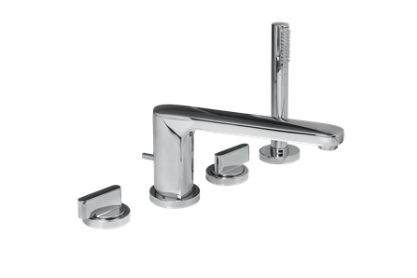 "American Standard bathtub faucet Polished Chrome American Standard ""Moments"" Chrome Deck Mount Tub Faucet With Handshower"
