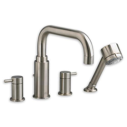 "American Standard Deck Mount Tub Faucet With Handshower Polished Chrome American Standard ""Serin"" Deck Mount Tub Faucet With Handshower"