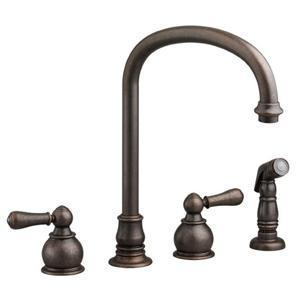"American Standard Kitchen Faucet Oil Rubbed Bronze American Standard ""Hampton"" Two Handle Kitchen Faucet"