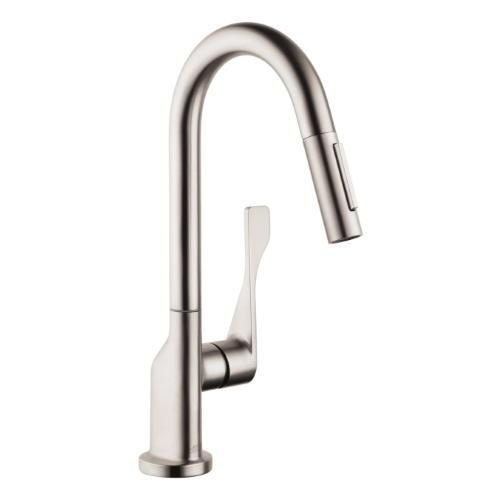 "AXOR Bar Faucet Steel Optic AXOR ""Citterio"" Single Hole Bar Faucet"