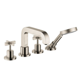 Axor bathtub faucet Brushed Nickel Axor Citterio 4 Hole Roman Tub Trim W/Cross Handles