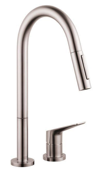 "Axor Kitchen Faucet Steel Optik AXOR ""Citterio M"" Pull-Out Spray Kitchen Faucet"